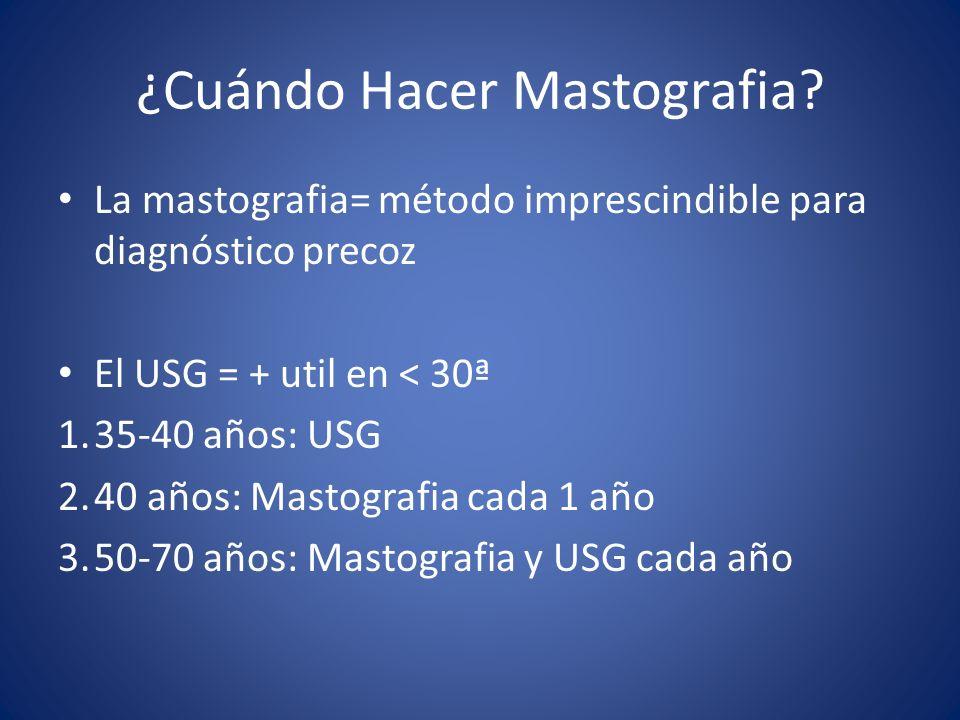 ¿Cuándo Hacer Mastografia? La mastografia= método imprescindible para diagnóstico precoz El USG = + util en < 30ª 1.35-40 años: USG 2.40 años: Mastogr