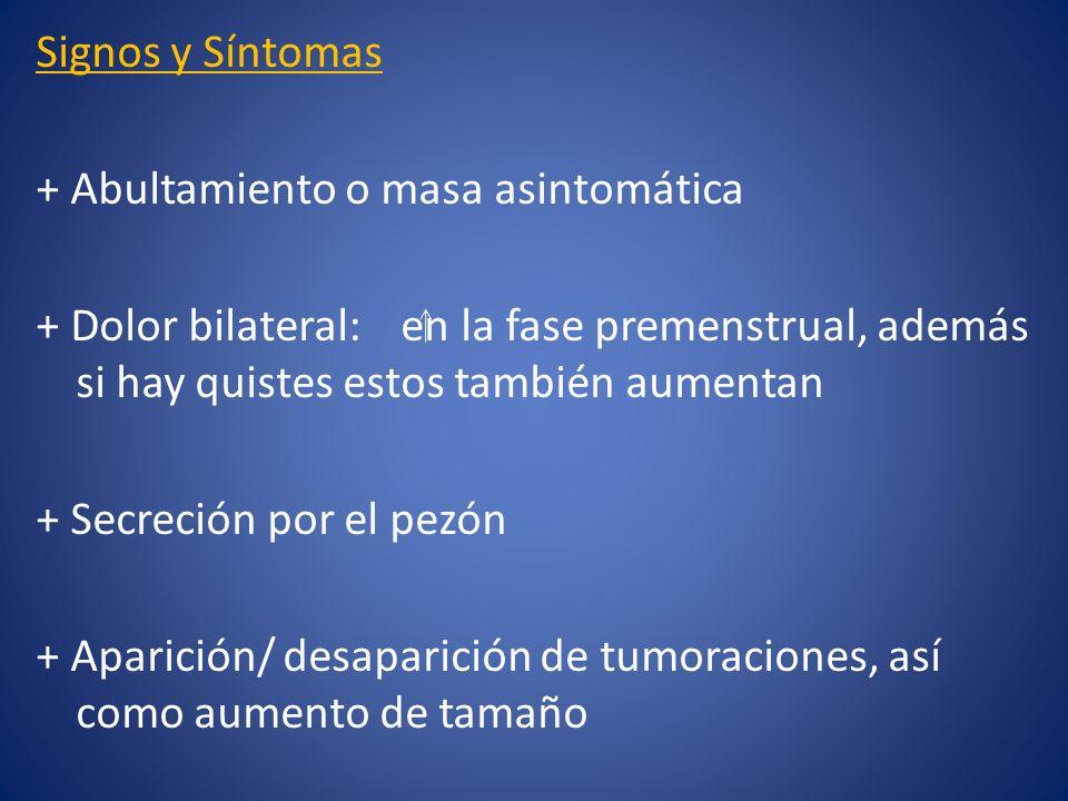 Signos y Síntomas + Abultamiento o masa asintomática + Dolor bilateral: en la fase premenstrual, además si hay quistes estos también aumentan + Secrec