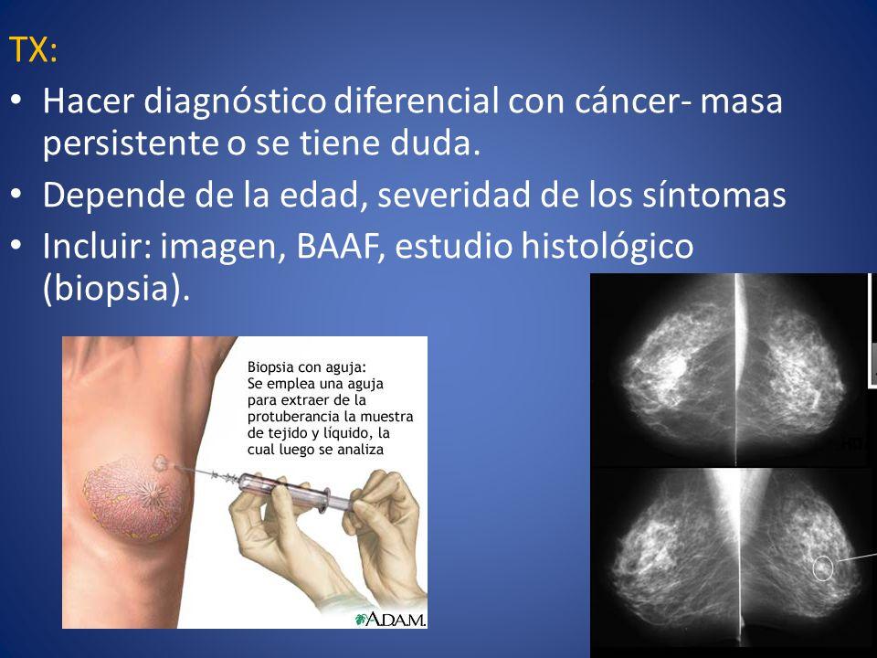 TX: Hacer diagnóstico diferencial con cáncer- masa persistente o se tiene duda. Depende de la edad, severidad de los síntomas Incluir: imagen, BAAF, e