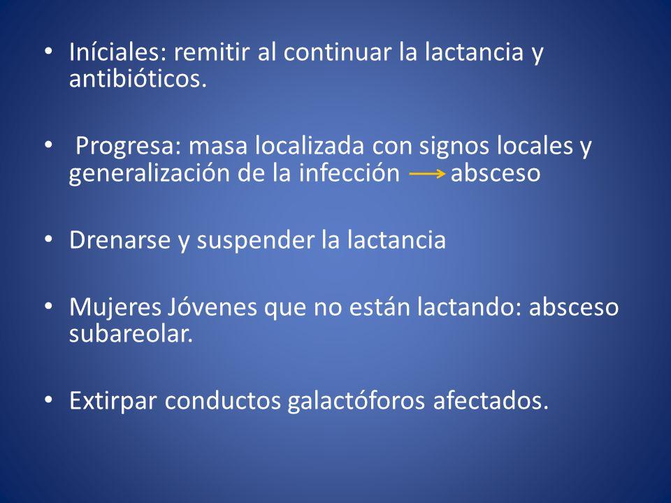 Iníciales: remitir al continuar la lactancia y antibióticos. Progresa: masa localizada con signos locales y generalización de la infección absceso Dre