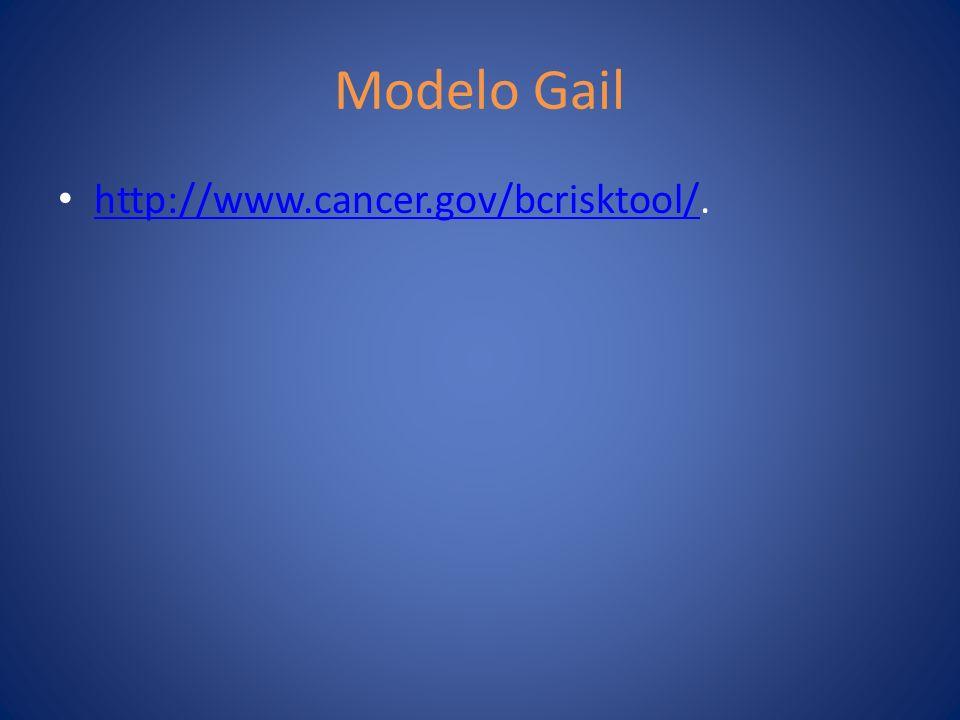 Modelo Gail http://www.cancer.gov/bcrisktool/. http://www.cancer.gov/bcrisktool/