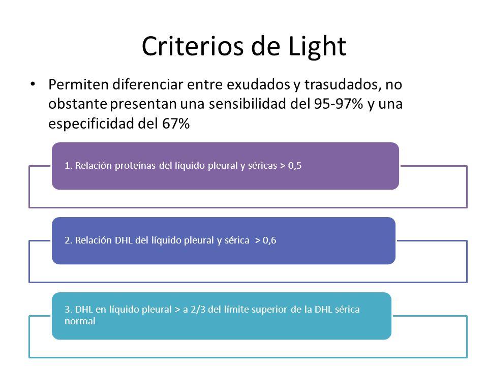Criterios de Light Permiten diferenciar entre exudados y trasudados, no obstante presentan una sensibilidad del 95-97% y una especificidad del 67% 1.