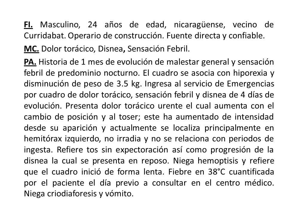 FI. Masculino, 24 años de edad, nicaragüense, vecino de Curridabat. Operario de construcción. Fuente directa y confiable. MC. Dolor torácico, Disnea,