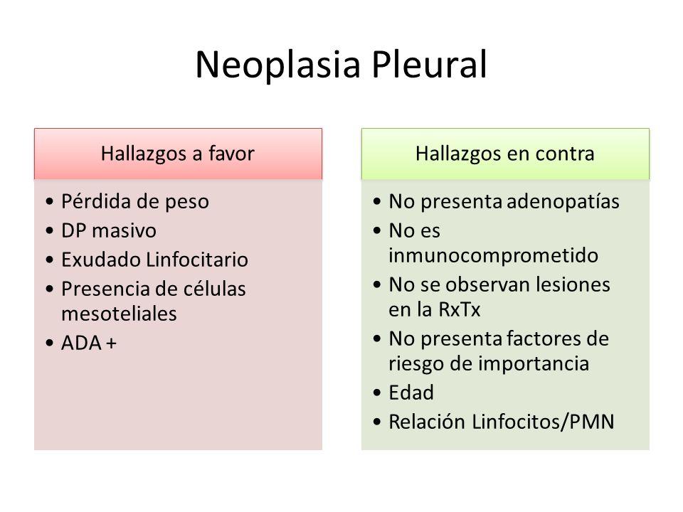Neoplasia Pleural Hallazgos a favor Pérdida de peso DP masivo Exudado Linfocitario Presencia de células mesoteliales ADA + Hallazgos en contra No pres