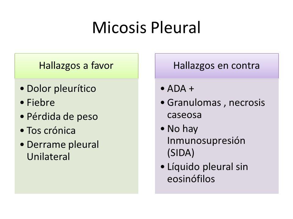 Micosis Pleural Hallazgos a favor Dolor pleurítico Fiebre Pérdida de peso Tos crónica Derrame pleural Unilateral Hallazgos en contra ADA + Granulomas,