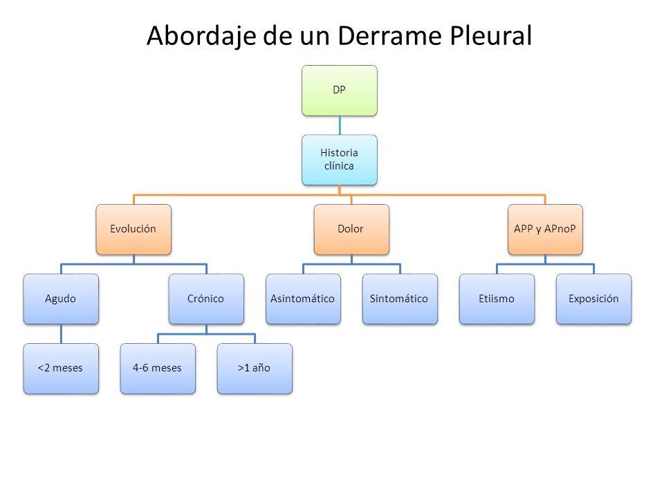 DP Historia clínica EvoluciónAgudo<2 mesesCrónico4-6 meses>1 añoDolorAsintomáticoSintomáticoAPP y APnoPEtiismoExposición Abordaje de un Derrame Pleura