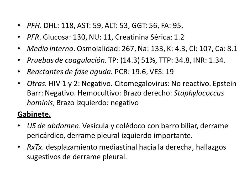 AnálisisResultadoUnidadesReferencia Recuento de blancos 10.7 x 10^35 – 10 Recuento de rojos 5.15 x 10^64 - 5.6 Hemoglobina 13.8 g/dL12.5 -14.8 Hematocrito 41 %38 - 47 MCV 79 fL90 - 101 MCH 27 Pg26 - 35 MCHC 34 g/dL31 - 35 Plaquetas 335 x 10^3200 - 450 Linfocitos 22 %20 - 45 Monocitos 15 %2 - 10 Neutrófilos 63 %40 - 70 Eosinófilos 0 % 3 Proteínas Totales 6.0 g/dL6.2-8.0 Albúmina 2.9 g/dL3.5-5.1 Globulinas 3.2 g/dL2.0-3.5 DHL 118 UI/L91-180 PCR 19.9 mg/dL 0.34 VES 19 mm 1 hora 7 Glucosa 130 mg/dL70-100 Hematología y valores de laboratorio de Química Clínica