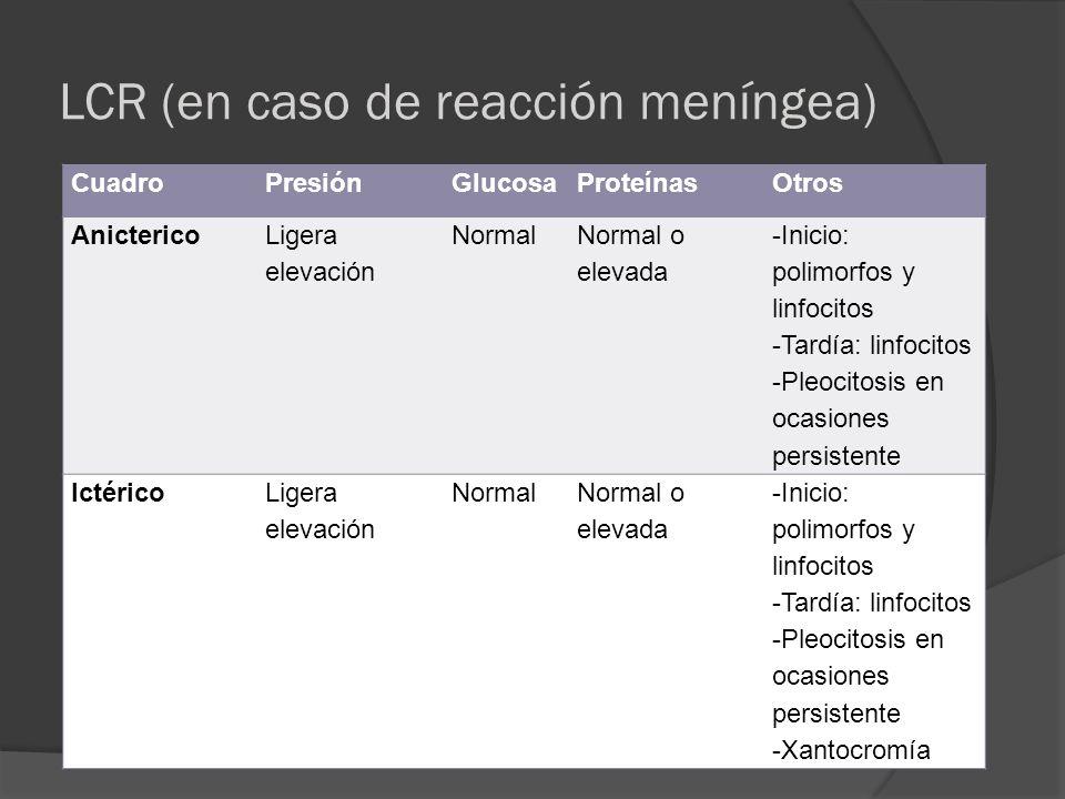 LCR (en caso de reacción meníngea) CuadroPresiónGlucosaProteínasOtros Anicterico Ligera elevación Normal Normal o elevada -Inicio: polimorfos y linfoc