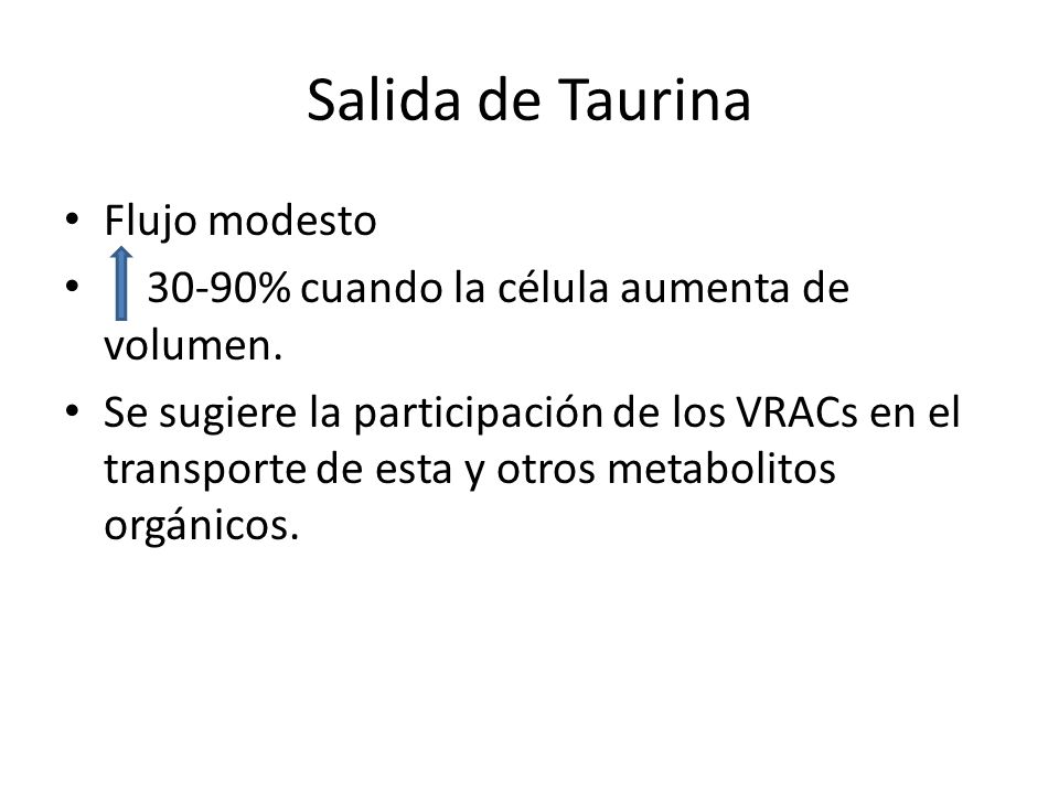 Salida de Taurina Flujo modesto 30-90% cuando la célula aumenta de volumen. Se sugiere la participación de los VRACs en el transporte de esta y otros
