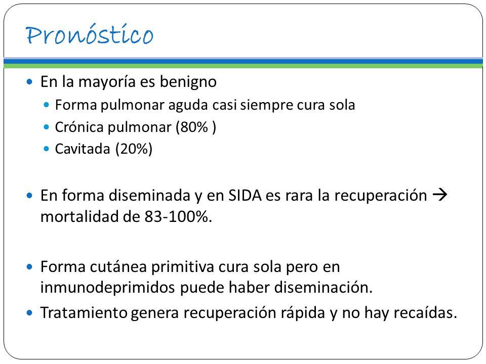 Pronóstico En la mayoría es benigno Forma pulmonar aguda casi siempre cura sola Crónica pulmonar (80% ) Cavitada (20%) En forma diseminada y en SIDA e