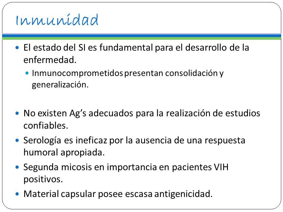 Inmunidad El estado del SI es fundamental para el desarrollo de la enfermedad. Inmunocomprometidos presentan consolidación y generalización. No existe