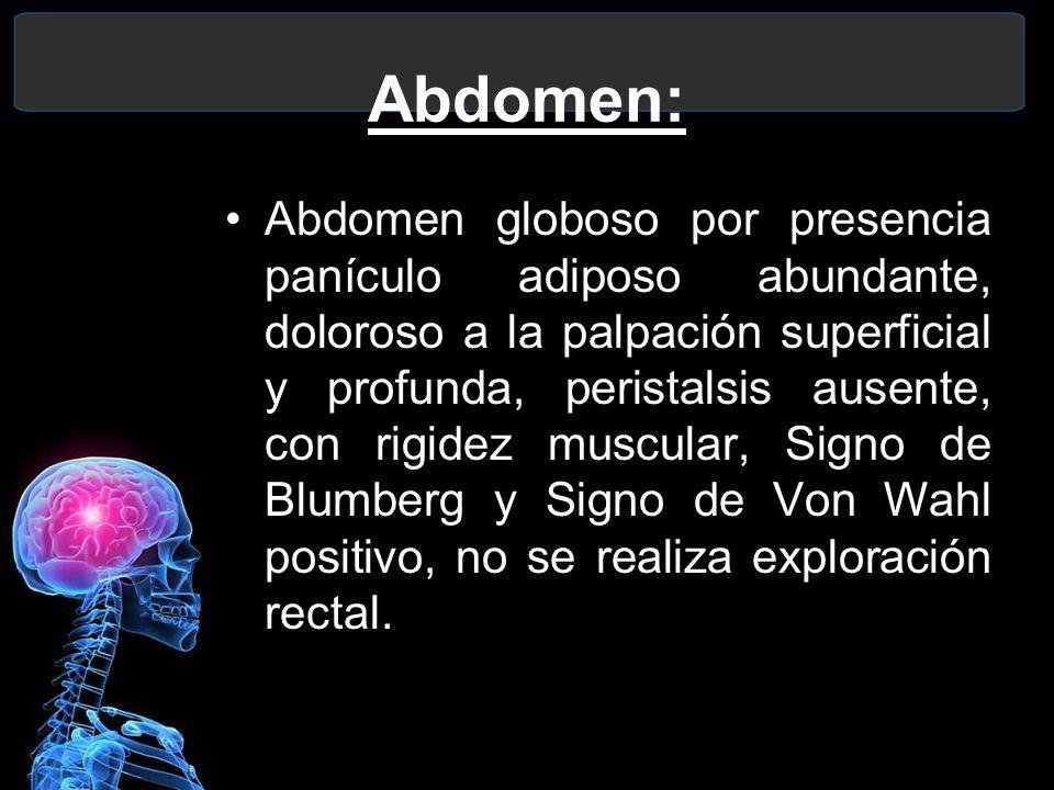Abdomen: Abdomen globoso por presencia panículo adiposo abundante, doloroso a la palpación superficial y profunda, peristalsis ausente, con rigidez mu