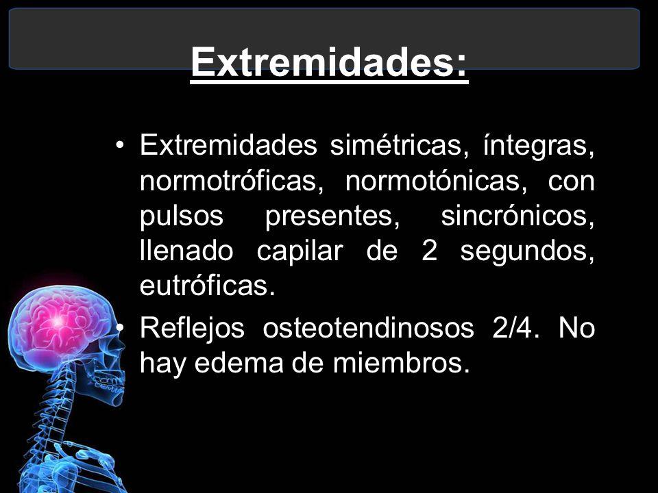 Extremidades: Extremidades simétricas, íntegras, normotróficas, normotónicas, con pulsos presentes, sincrónicos, llenado capilar de 2 segundos, eutróf