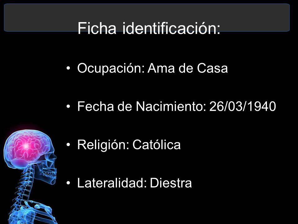 Ocupación: Ama de Casa Fecha de Nacimiento: 26/03/1940 Religión: Católica Lateralidad: Diestra Ficha identificación: