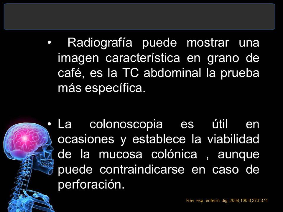 Radiografía puede mostrar una imagen característica en grano de café, es la TC abdominal la prueba más específica. La colonoscopia es útil en ocasione