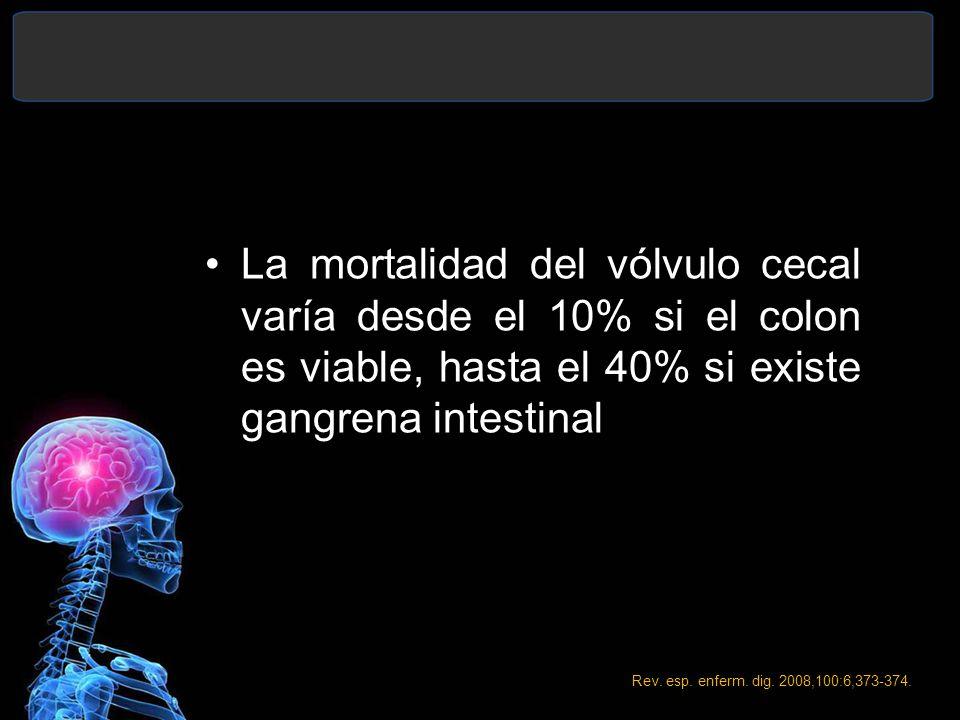 La mortalidad del vólvulo cecal varía desde el 10% si el colon es viable, hasta el 40% si existe gangrena intestinal Rev. esp. enferm. dig. 2008,100:6