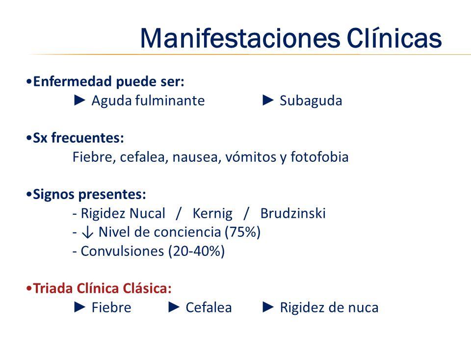 Manifestaciones Clínicas Enfermedad puede ser: Aguda fulminante Subaguda Sx frecuentes: Fiebre, cefalea, nausea, vómitos y fotofobia Signos presentes: