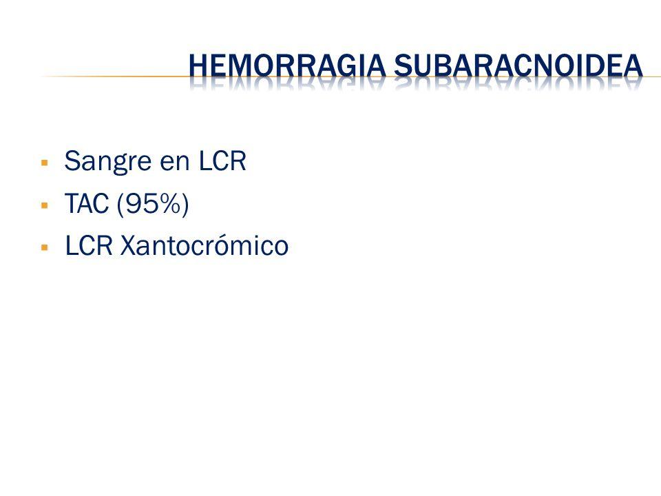 Sangre en LCR TAC (95%) LCR Xantocrómico