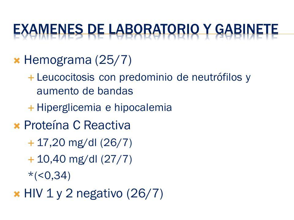 Hemograma (25/7) Leucocitosis con predominio de neutrófilos y aumento de bandas Hiperglicemia e hipocalemia Proteína C Reactiva 17,20 mg/dl (26/7) 10,