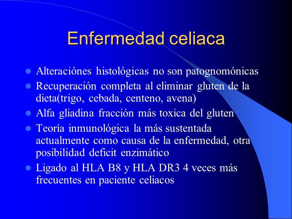 Enfermedad celiaca Alteraciónes histológicas no son patognomónicas Recuperación completa al eliminar gluten de la dieta(trigo, cebada, centeno, avena)