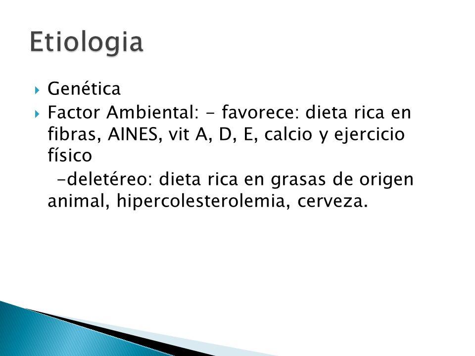 Genética Factor Ambiental: - favorece: dieta rica en fibras, AINES, vit A, D, E, calcio y ejercicio físico -deletéreo: dieta rica en grasas de origen