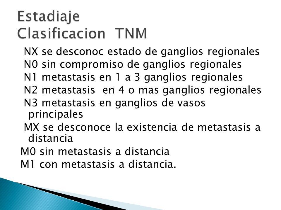 NX se desconoc estado de ganglios regionales N0 sin compromiso de ganglios regionales N1 metastasis en 1 a 3 ganglios regionales N2 metastasis en 4 o