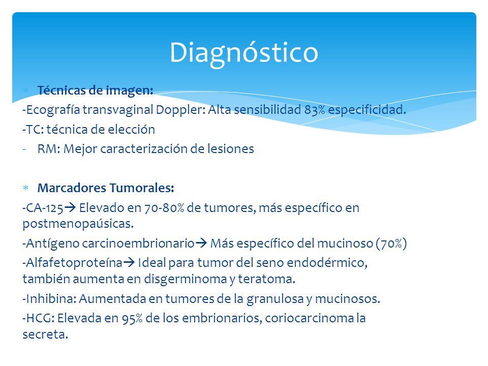 Diagnóstico Técnicas de imagen: -Ecografía transvaginal Doppler: Alta sensibilidad 83% especificidad. -TC: técnica de elección -RM: Mejor caracterizac