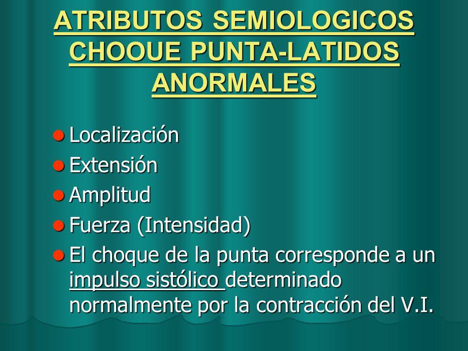 ATRIBUTOS SEMIOLOGICOS CHOOUE PUNTA-LATIDOS ANORMALES Localización Localización Extensión Extensión Amplitud Amplitud Fuerza (Intensidad) Fuerza (Inte