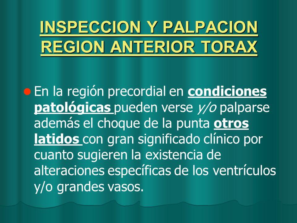 INSPECCION Y PALPACION REGION ANTERIOR TORAX En la región precordial en condiciones patológicas pueden verse y/o palparse además el choque de la punta