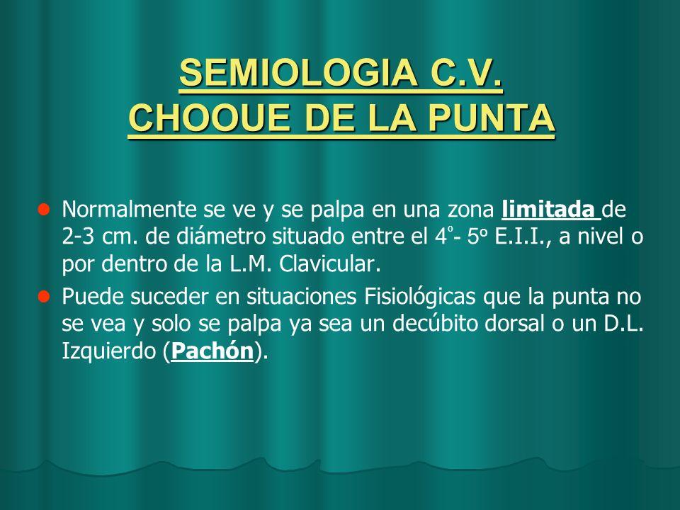SEMIOLOGIA C.V. CHOOUE DE LA PUNTA Normalmente se ve y se palpa en una zona limitada de 2-3 cm. de diámetro situado entre el 4 º - 5 o E.I.I., a nivel