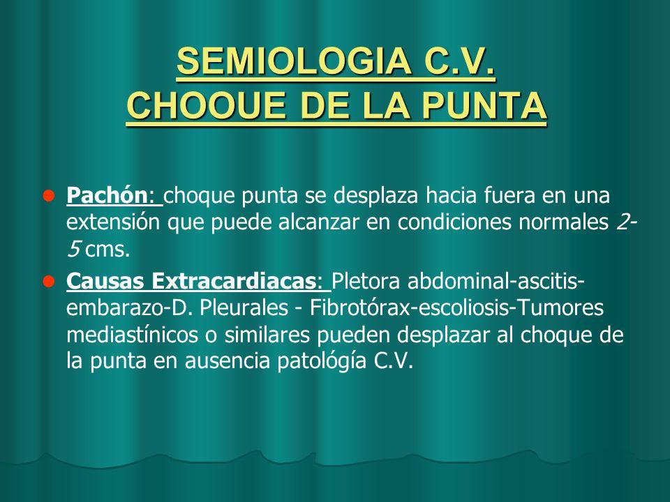 SEMIOLOGIA C.V. CHOOUE DE LA PUNTA Pachón: choque punta se desplaza hacia fuera en una extensión que puede alcanzar en condiciones normales 2- 5 cms.