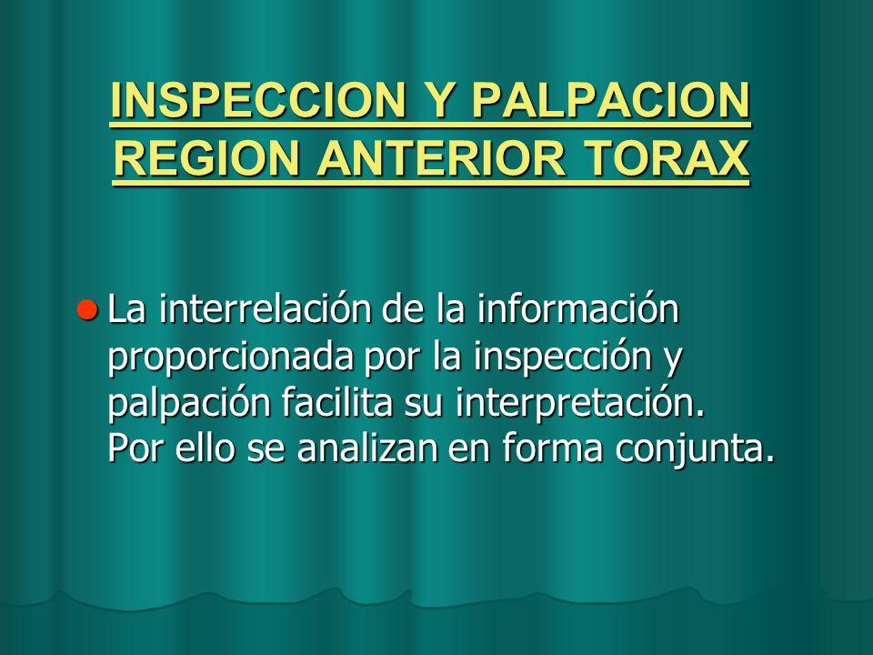INSPECCION Y PALPACION REGION ANTERIOR TORAX La interrelación de la información proporcionada por la inspección y palpación facilita su interpretación
