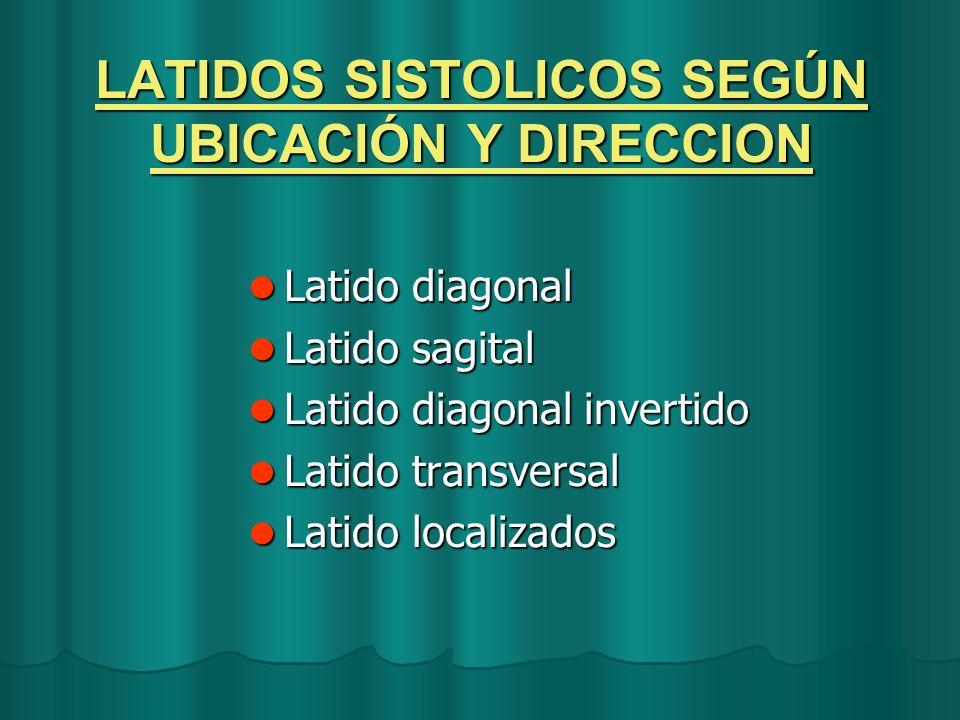 LATIDOS SISTOLICOS SEGÚN UBICACIÓN Y DIRECCION Latido diagonal Latido diagonal Latido sagital Latido sagital Latido diagonal invertido Latido diagonal