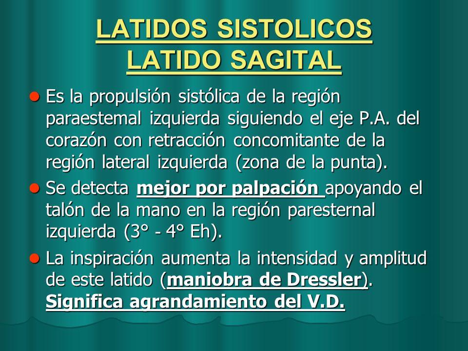 LATIDOS SISTOLICOS LATIDO SAGITAL Es la propulsión sistólica de la región paraestemal izquierda siguiendo el eje P.A. del corazón con retracción conco