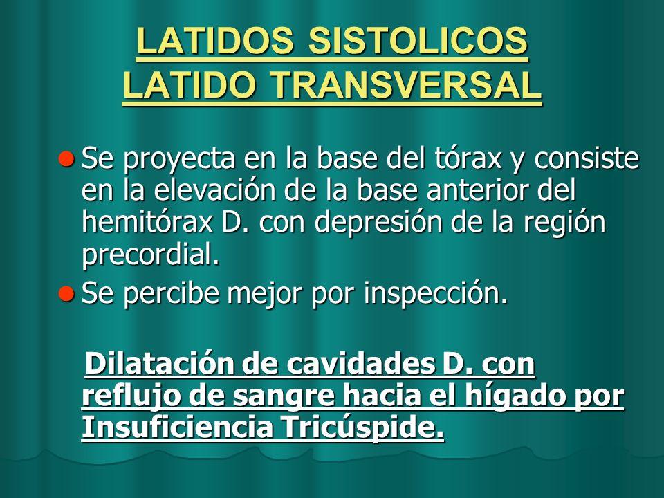 LATIDOS SISTOLICOS LATIDO TRANSVERSAL Se proyecta en la base del tórax y consiste en la elevación de la base anterior del hemitórax D. con depresión d