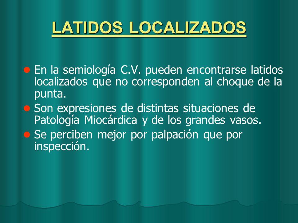 LATIDOS LOCALIZADOS En la semiología C.V. pueden encontrarse latidos localizados que no corresponden al choque de la punta. Son expresiones de distint