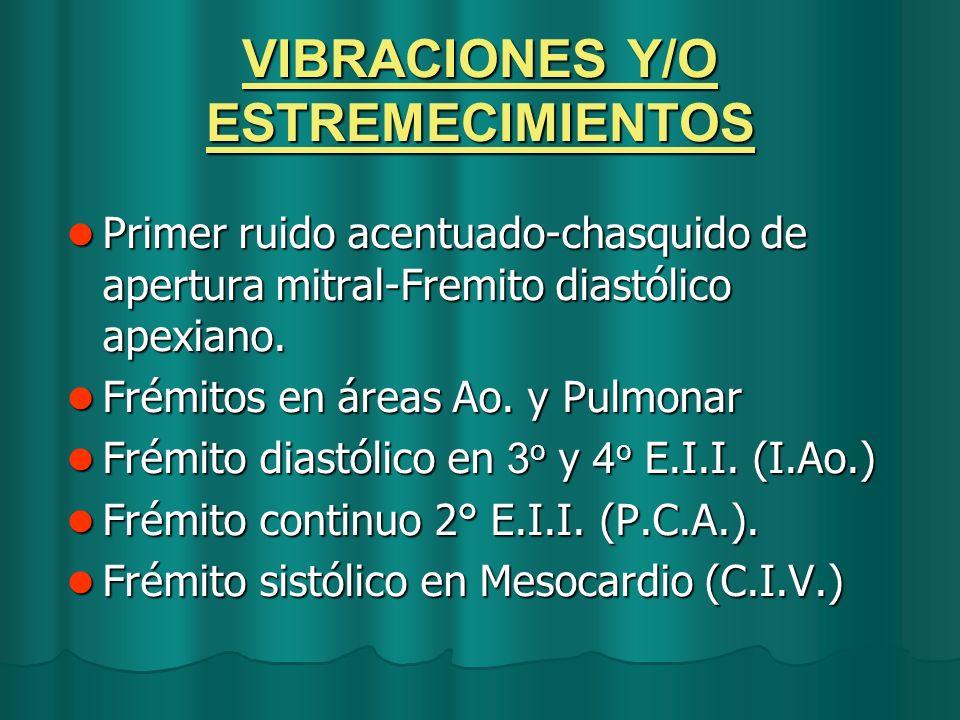 VIBRACIONES Y/O ESTREMECIMIENTOS Primer ruido acentuado-chasquido de apertura mitral-Fremito diastólico apexiano. Primer ruido acentuado-chasquido de