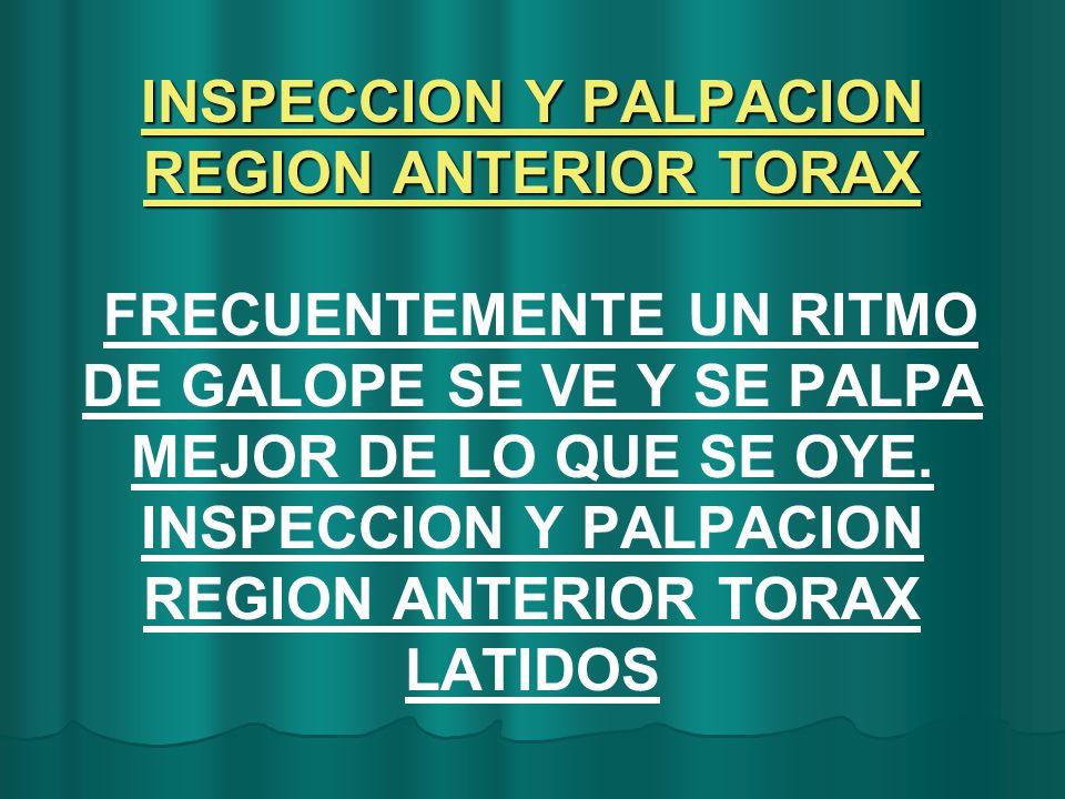 INSPECCION Y PALPACION REGION ANTERIOR TORAX INSPECCION Y PALPACION REGION ANTERIOR TORAX FRECUENTEMENTE UN RITMO DE GALOPE SE VE Y SE PALPA MEJOR DE