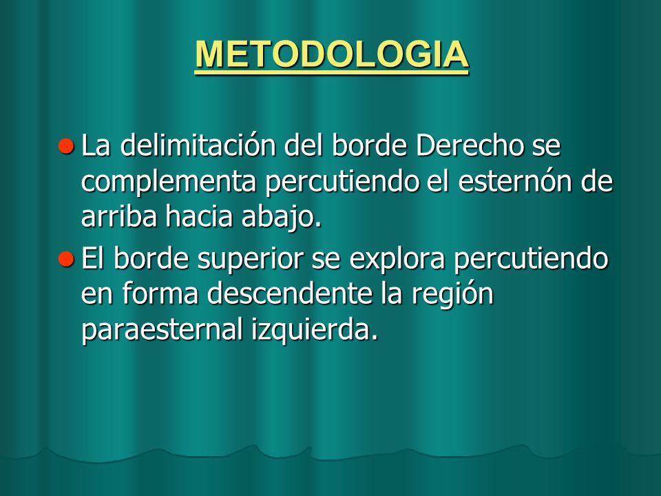 METODOLOGIA La delimitación del borde Derecho se complementa percutiendo el esternón de arriba hacia abajo. La delimitación del borde Derecho se compl