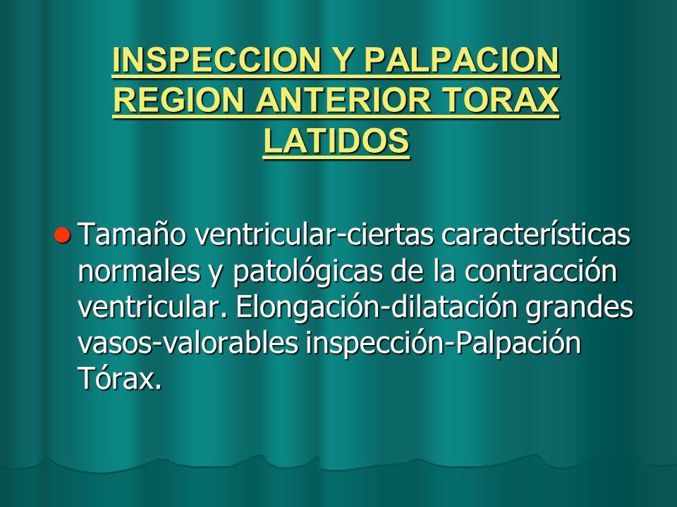 INSPECCION Y PALPACION REGION ANTERIOR TORAX LATIDOS Tamaño ventricular-ciertas características normales y patológicas de la contracción ventricular.