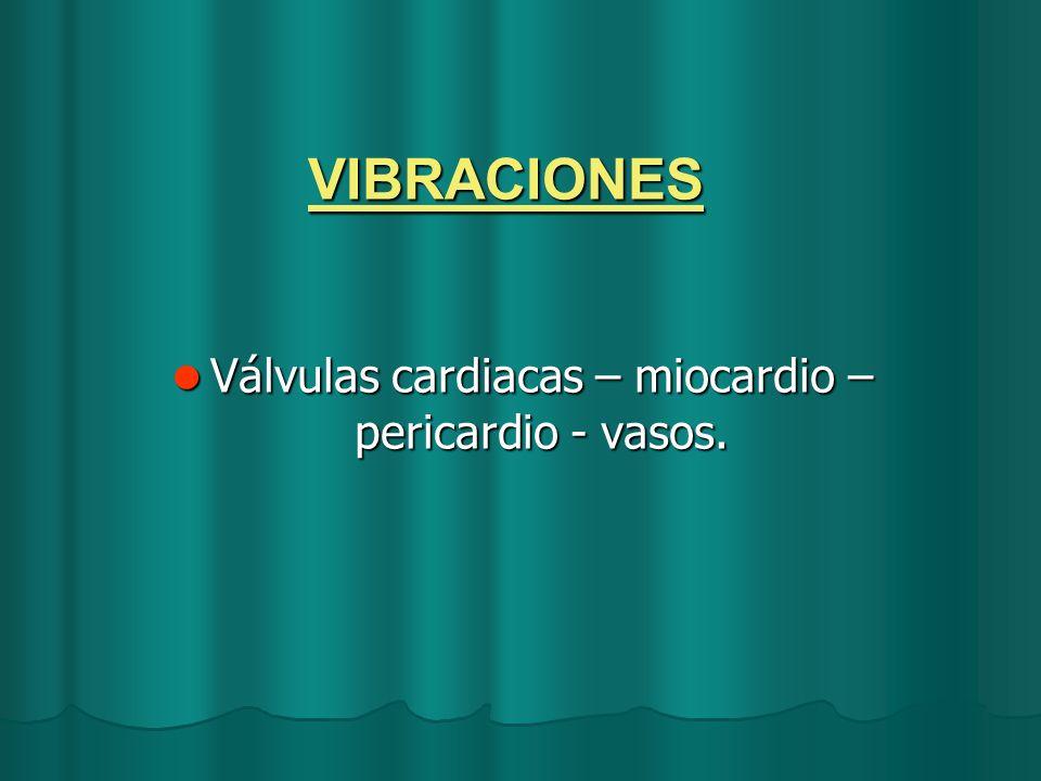 VIBRACIONES Válvulas cardiacas – miocardio – pericardio - vasos. Válvulas cardiacas – miocardio – pericardio - vasos.