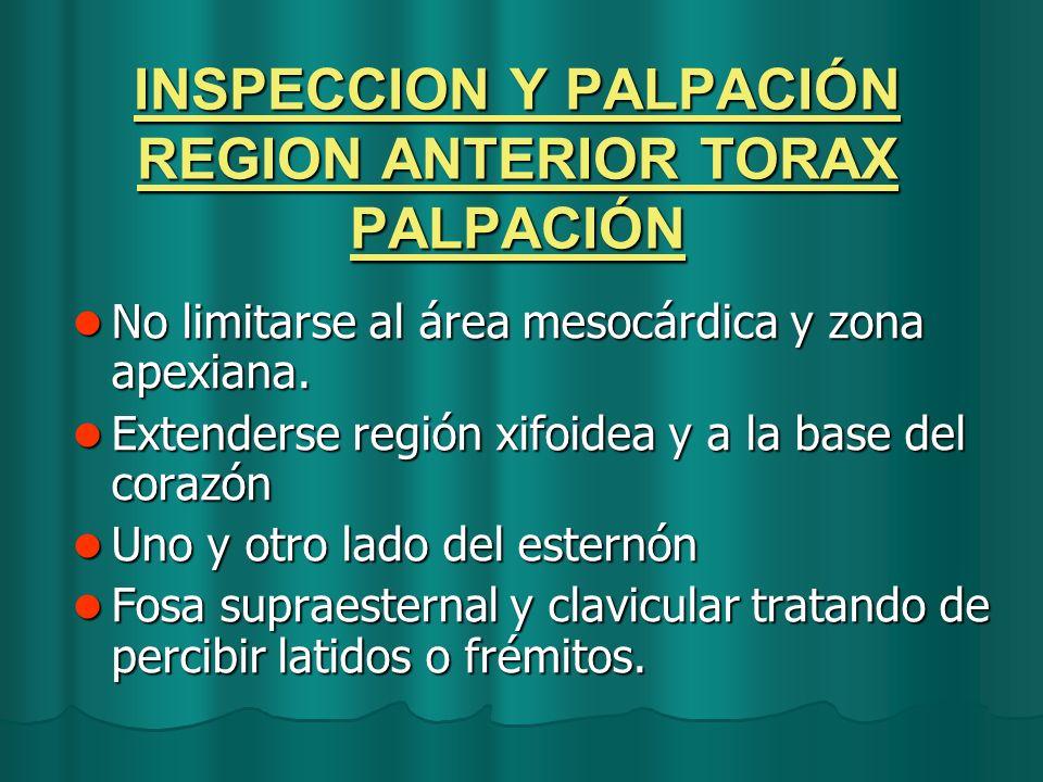 INSPECCION Y PALPACIÓN REGION ANTERIOR TORAX PALPACIÓN No limitarse al área mesocárdica y zona apexiana. No limitarse al área mesocárdica y zona apexi