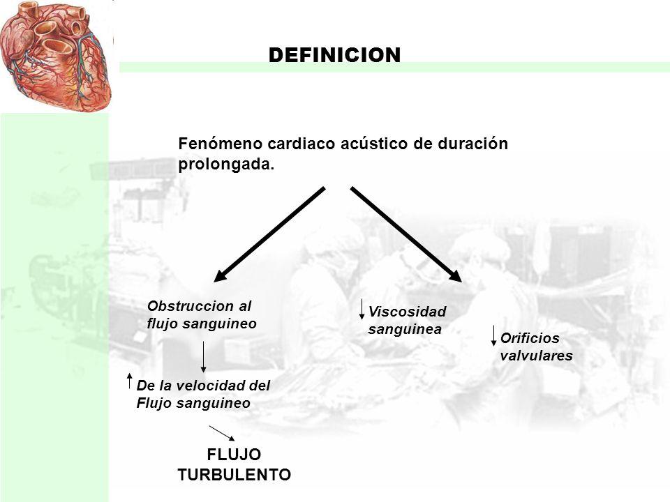 DEFINICION Fenómeno cardiaco acústico de duración prolongada.