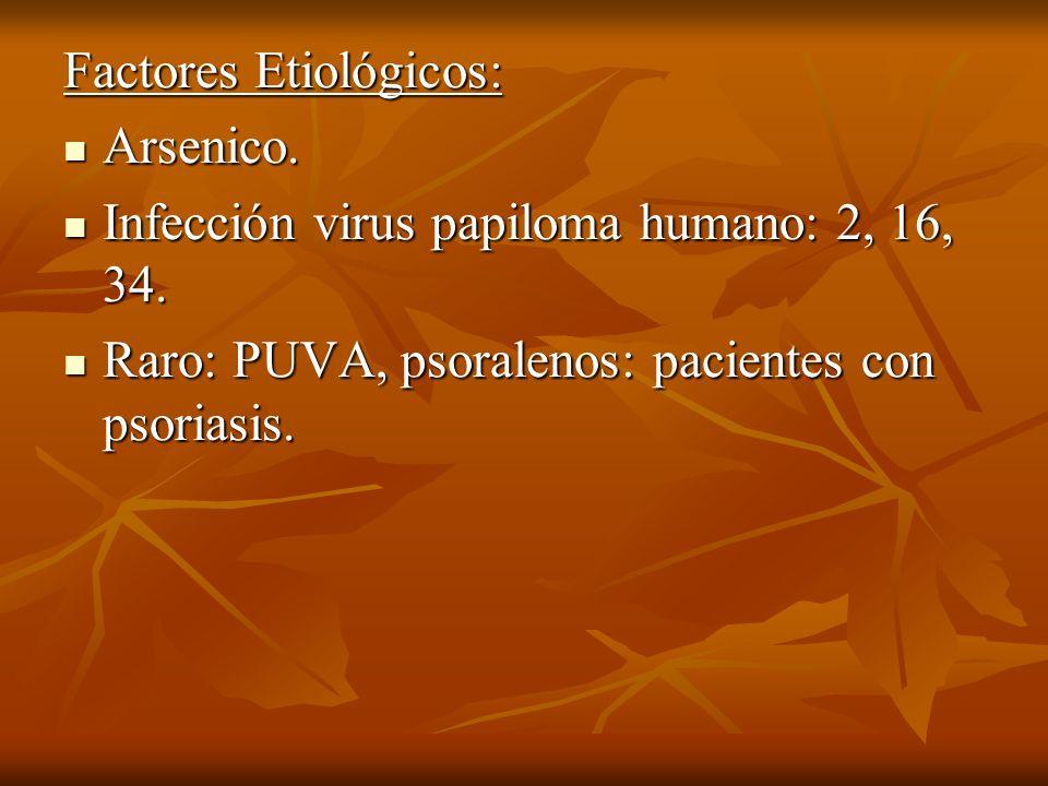 Factores Etiológicos: Arsenico. Arsenico. Infección virus papiloma humano: 2, 16, 34. Infección virus papiloma humano: 2, 16, 34. Raro: PUVA, psoralen