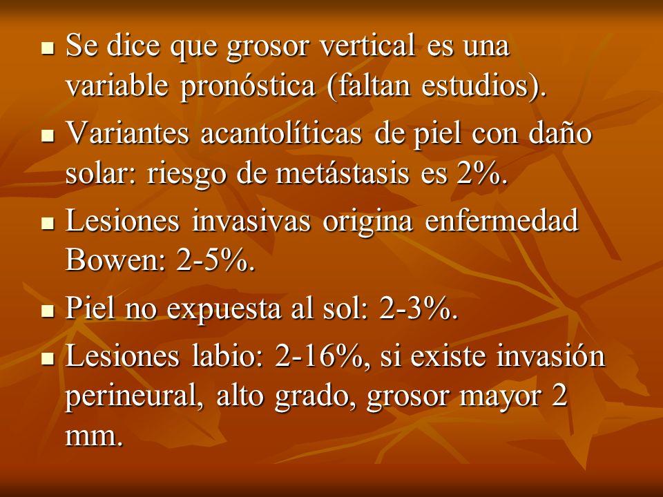 Se dice que grosor vertical es una variable pronóstica (faltan estudios). Se dice que grosor vertical es una variable pronóstica (faltan estudios). Va