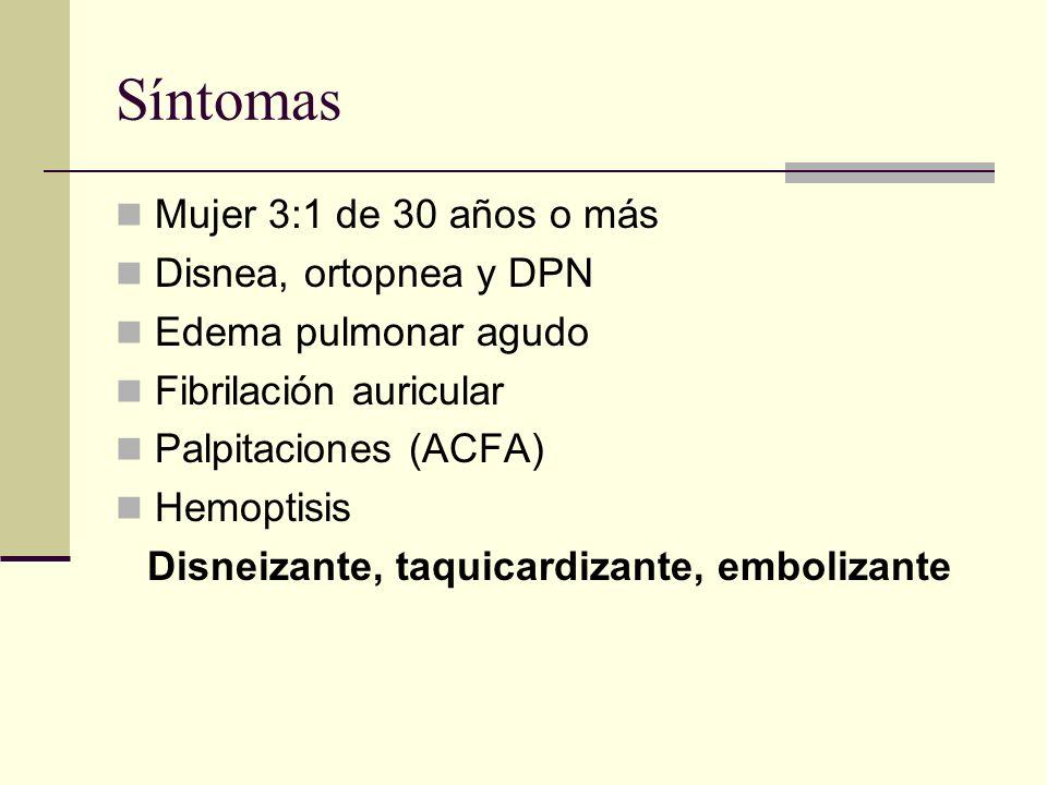 Síntomas Mujer 3:1 de 30 años o más Disnea, ortopnea y DPN Edema pulmonar agudo Fibrilación auricular Palpitaciones (ACFA) Hemoptisis Disneizante, taquicardizante, embolizante