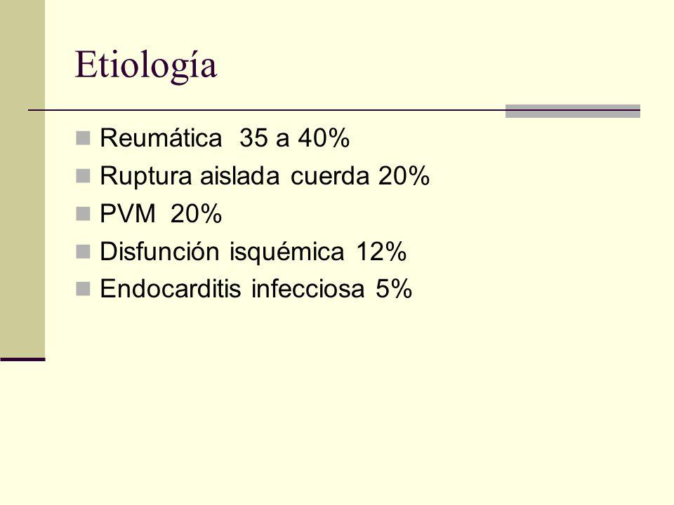 Etiología Reumática 35 a 40% Ruptura aislada cuerda 20% PVM 20% Disfunción isquémica 12% Endocarditis infecciosa 5%