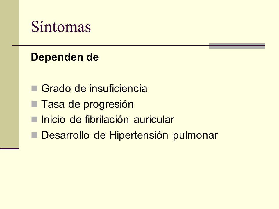 Síntomas Dependen de Grado de insuficiencia Tasa de progresión Inicio de fibrilación auricular Desarrollo de Hipertensión pulmonar