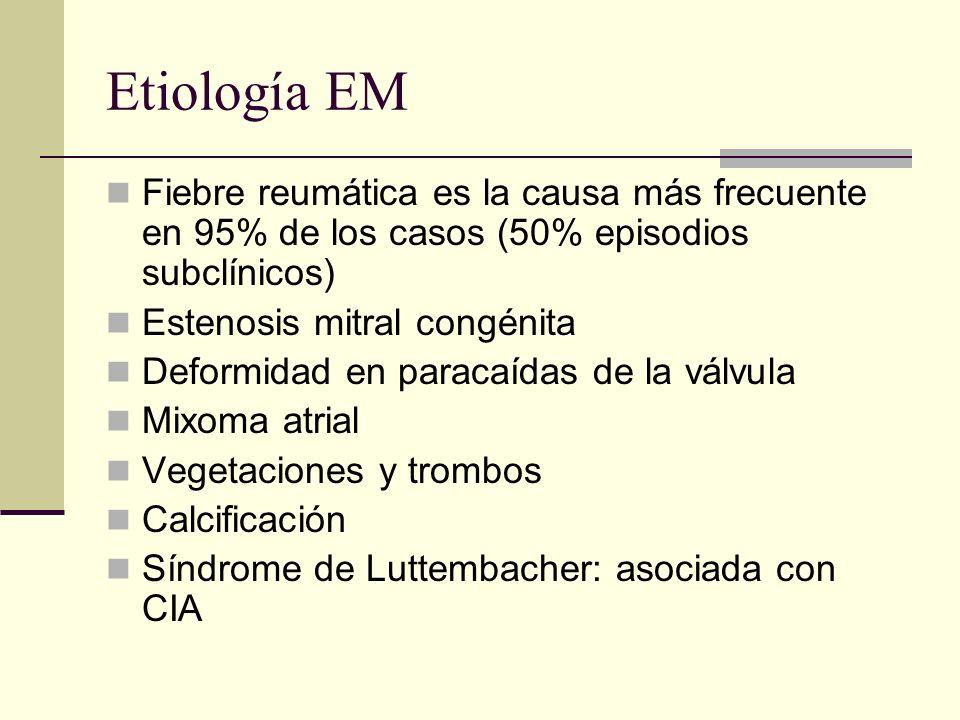 Etiología EM Fiebre reumática es la causa más frecuente en 95% de los casos (50% episodios subclínicos) Estenosis mitral congénita Deformidad en paracaídas de la válvula Mixoma atrial Vegetaciones y trombos Calcificación Síndrome de Luttembacher: asociada con CIA