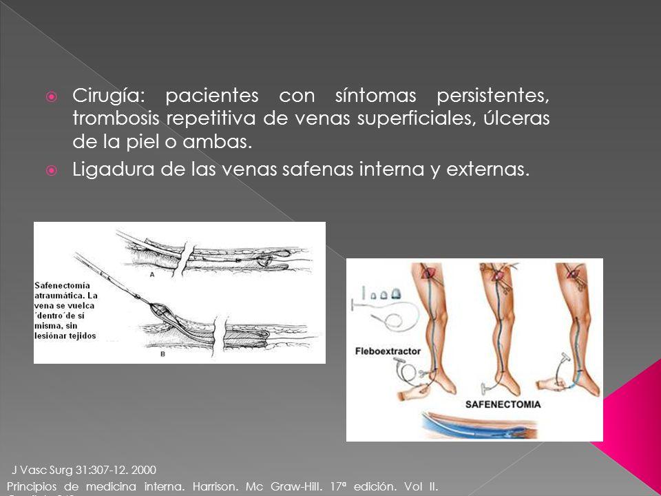 Cirugía: pacientes con síntomas persistentes, trombosis repetitiva de venas superficiales, úlceras de la piel o ambas. Ligadura de las venas safenas i